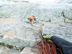 Rock Climbing Photo: Bert following the crux pitch on Ten little Indian...
