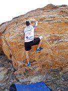 Rock Climbing Photo: Garrett warming up.