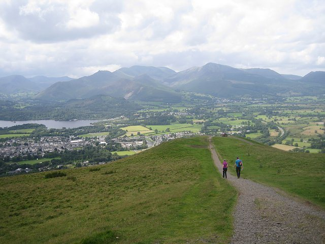 Walking down Latrigg towards the town of Keswick lies at the head of the Borrowdale Valley. Bowker