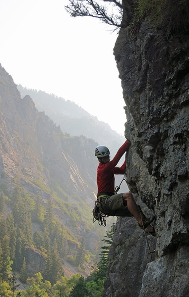 Rock Climbing Photo: Jon Scoville pushing through the crux on a lovely ...