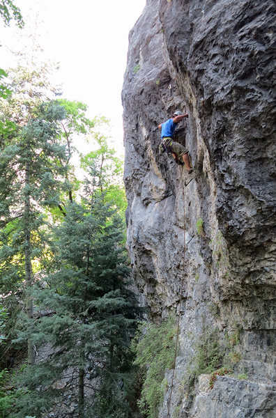 Jon Scoville climbing through the cruxy bit.