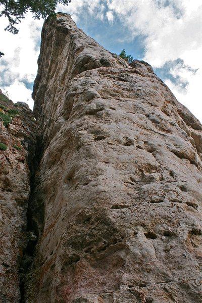 Rock Climbing Photo: The left arete of the Cobra Pillar.  The Gooey Gra...