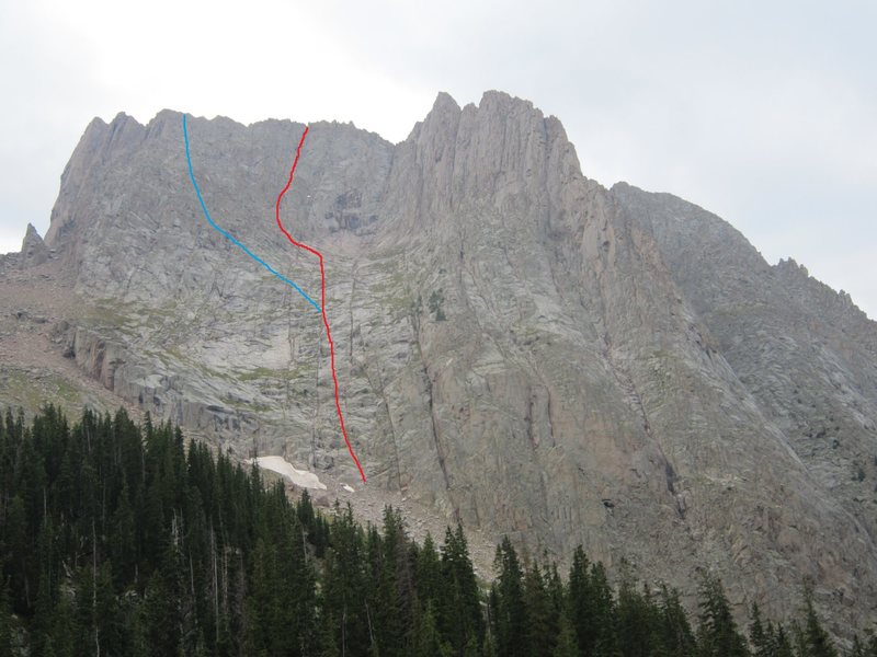 "NF of Pigeon.  Red-line we took.  Blue-I believe this is the route Ormes describes as the ""grassy ledges""."