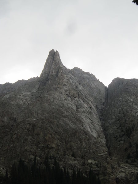 Looking at the ridge head-on showing the first tower.