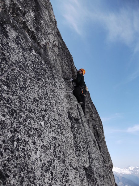 Taylor Roy on the exposed P4 Traverse.