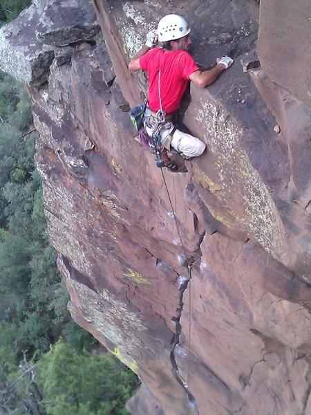 Rock Climbing Photo: Joel topping out Isaiah
