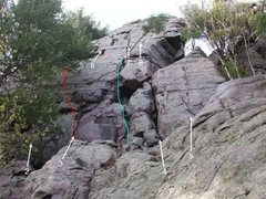 "Rock Climbing Photo: Beta photo update.  ""Fritz"" route in red..."