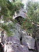 """Rock Climbing Photo: Beta photo 2 for """"The Wasp"""" route.  The ..."""
