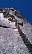 Just past the lower (bolted) crux on Thanksgiving.