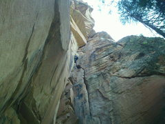 Rock Climbing Photo: The really good sustained hand crack crux. Scott o...