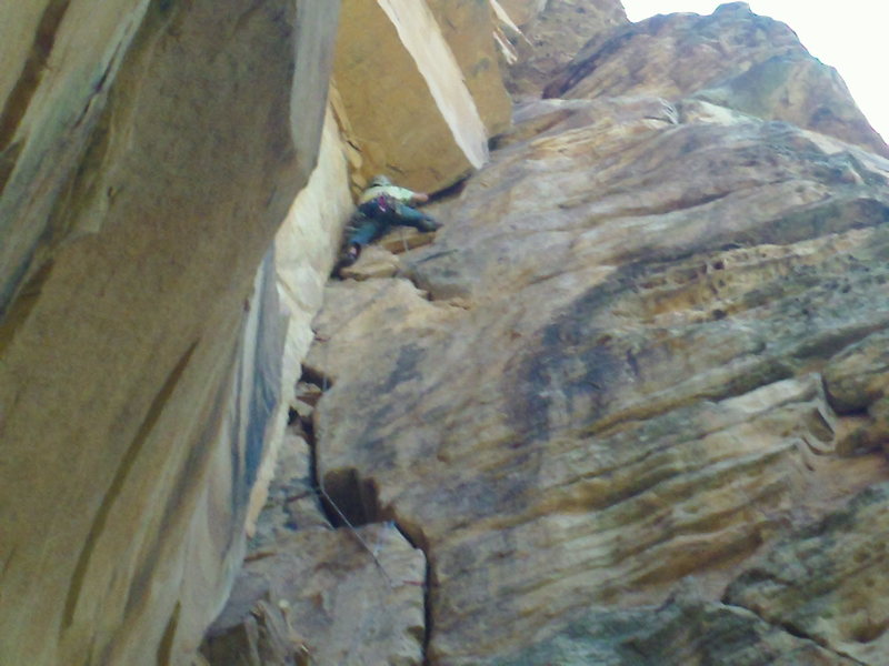 Rock Climbing Photo: Scott negotiating gear under the short, super fun ...