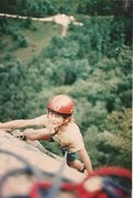 Rock Climbing Photo: Andy Ross on the finish to Refuse. about 1977