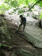 Rock Climbing Photo: Jimmy Jazz raps the route after a thorough cleanin...