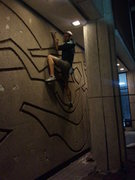 Rock Climbing Photo: Traversing the outdoor section after stopping for ...