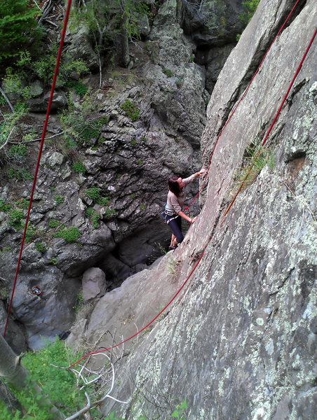 Rock Climbing Photo: Sami working the start of the crack and her first ...