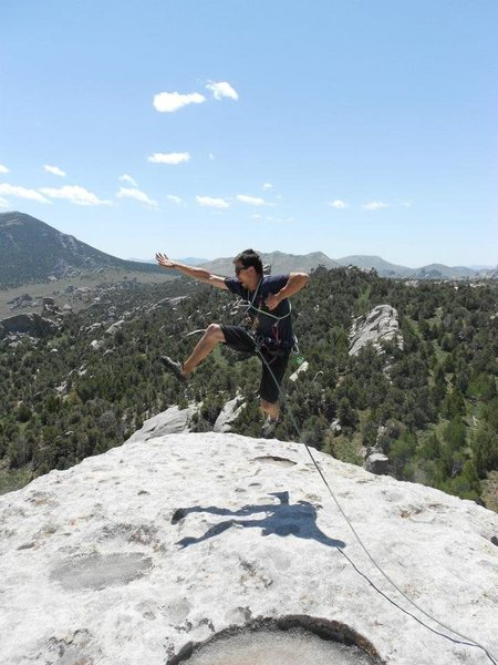 On top of the Lost Arrow Spire in the City of Rocks