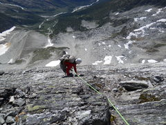 Rock Climbing Photo: WEST FACE DOWN-CLIMB After two rappels, almost dow...