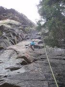 Rock Climbing Photo: Climber on Sleeping Beauty, first two bolts not sh...