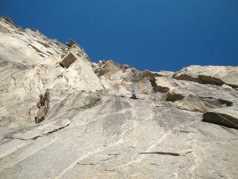 Rock Climbing Photo: We linked P1 & P2, this picture is after clipping ...