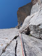 Rock Climbing Photo: Looking up the what the route description called P...