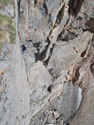 Rock Climbing Photo: Mike Keegan half way up the 10+ dihedral pitch, th...
