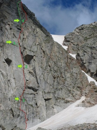 Our version of Emerald Highway, arrows/numbers show belay, green line shows variation.<br> (Picture by Ben Collett.)