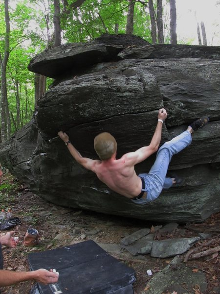 Derek Samples on first ascent of Right to Bear Arms