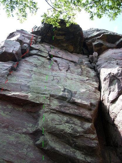 Rock Climbing Photo: Accepted route line in Green?  Possible route line...