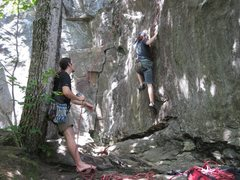 Josh on his first day of climbing ever, and he smashed this 5.9!