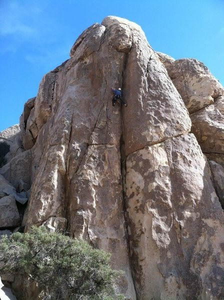 Eric Coffman leading Too Secret To Find 5.10b Joshua Tree