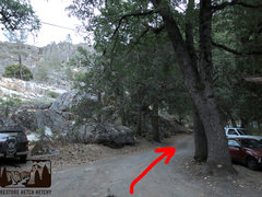 Rock Climbing Photo: Turn right and follow this driveway with the two b...
