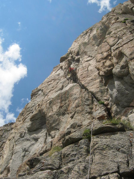 Rock Climbing Photo: The start of pitch 4. The higher you get, the bett...