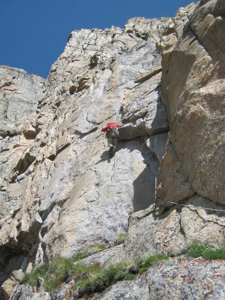 Rock Climbing Photo: Just past the crux on the second pitch.