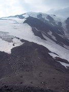 Rock Climbing Photo: Sunrise Camp at the bottom, the route runs straigh...