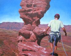 Rock Climbing Photo: Oil painting of my nephew Matt on Ancient Art