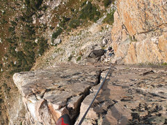 Rock Climbing Photo: View down to the belay station at the start of the...