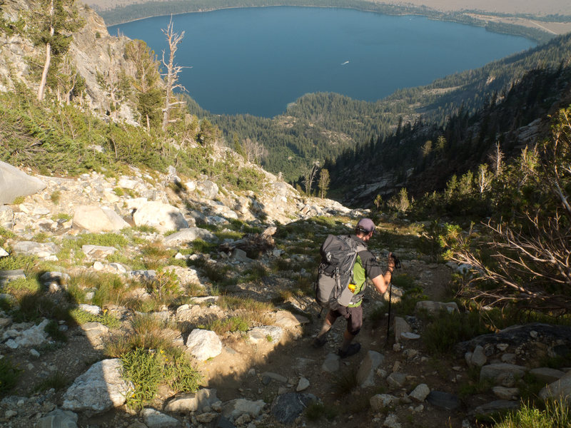 Rock Climbing Photo: Hiking back down to Jenny Lake.  A little tough on...