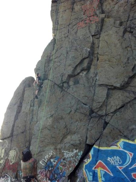 Rock Climbing Photo: Jay mid-route.