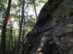 Rock Climbing Photo: Loran aproching the crux