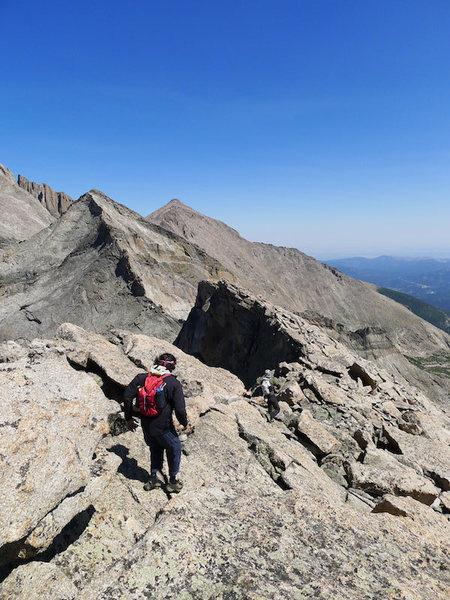 Rock Climbing Photo: Adam starts toward the W Ridge from Chiefshead.