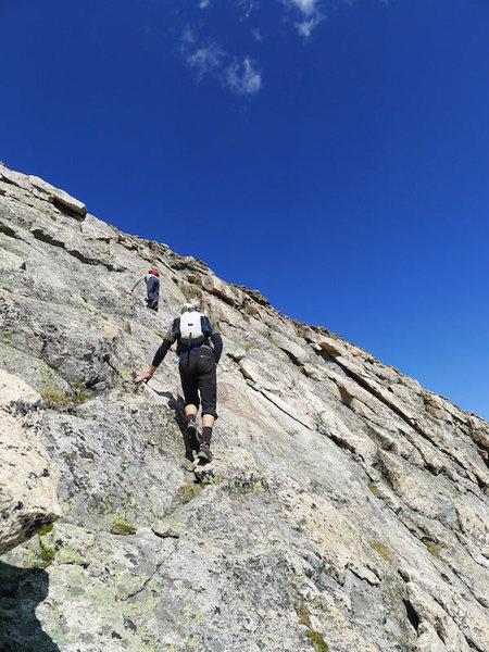 Last slabby push to the summit.