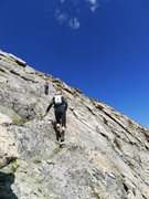 Rock Climbing Photo: Last slabby push to the summit.