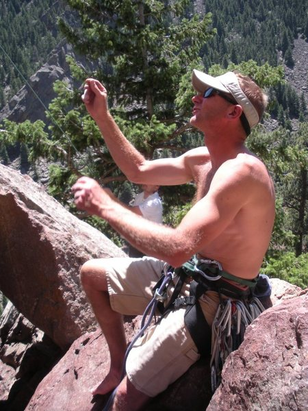 "Rock Climbing Photo: Mike ""Coach"" Sanders coaching a new lead..."