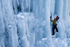 Rock Climbing Photo: Mart T. climbing Parlee Brook's Blue Pillar (Wi4+)...