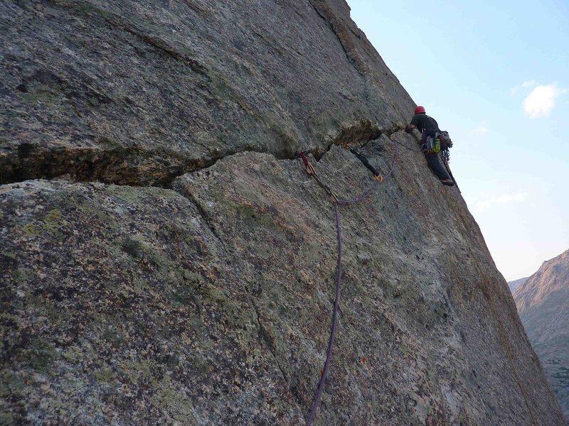 Rock Climbing Photo: Last pitch 5.8 hand traverse