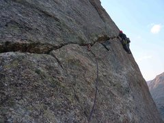 Rock Climbing Photo: Last pitch 5.8 hand traverse