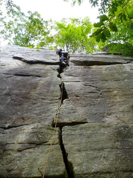 Guillaume Frechette looking for small gear below the crux, August 2012