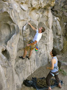 Rock Climbing Photo: Sizing up the start of Warm n' Fuzzy.