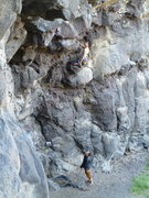 Rock Climbing Photo: Kate on the juggy start.  It just gets steeper and...
