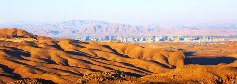 A view of the strip from the upper pitches of Refried Brains. (Blue Diamond Hill in the foreground)<br> <br> 7/6/2012